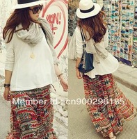 2013 new National style fashion ladies'  skirts, personal Bohemian  girls skirt  long print Skirts  for women,free shipping
