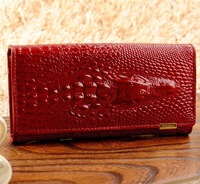 Free shipping High-quality Leather Crocodile pattern Wallet Women Long Style Cowhide Purse wholesale and retail