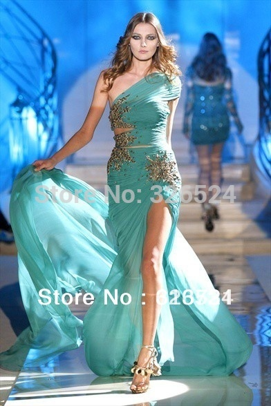 Zuhair Murad Haute Couture Evening Dresses One Shoulder Green Beading Chiffon Long Slit Front Prom Dresses 2012 ZH17(China (Mainland))