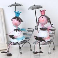 Fashion brief beach chair metal doll lovers home decoration wedding gift
