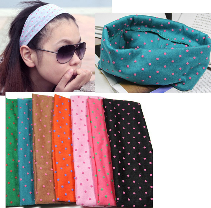 Free shipping wholesale 2013 new cute dot design elastic hair band Euro fashion sports yoga head band headwear hair jewelry(China (Mainland))