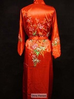Free Shipping New Chinese Women's Silk Satin Eambroider Kimono Robe/Gown S M L XL XXL XXXL  S21