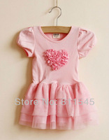 Retail New Arrival 2013 Summer Pink White Ruffle Lace Girls Rose Dress Princess Girl Dresses with Flower Pattern, Free Shipping!