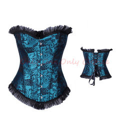 Free Shipping--Sexy Two Tone Lacing Single Breasted Satin Women Corset(China (Mainland))