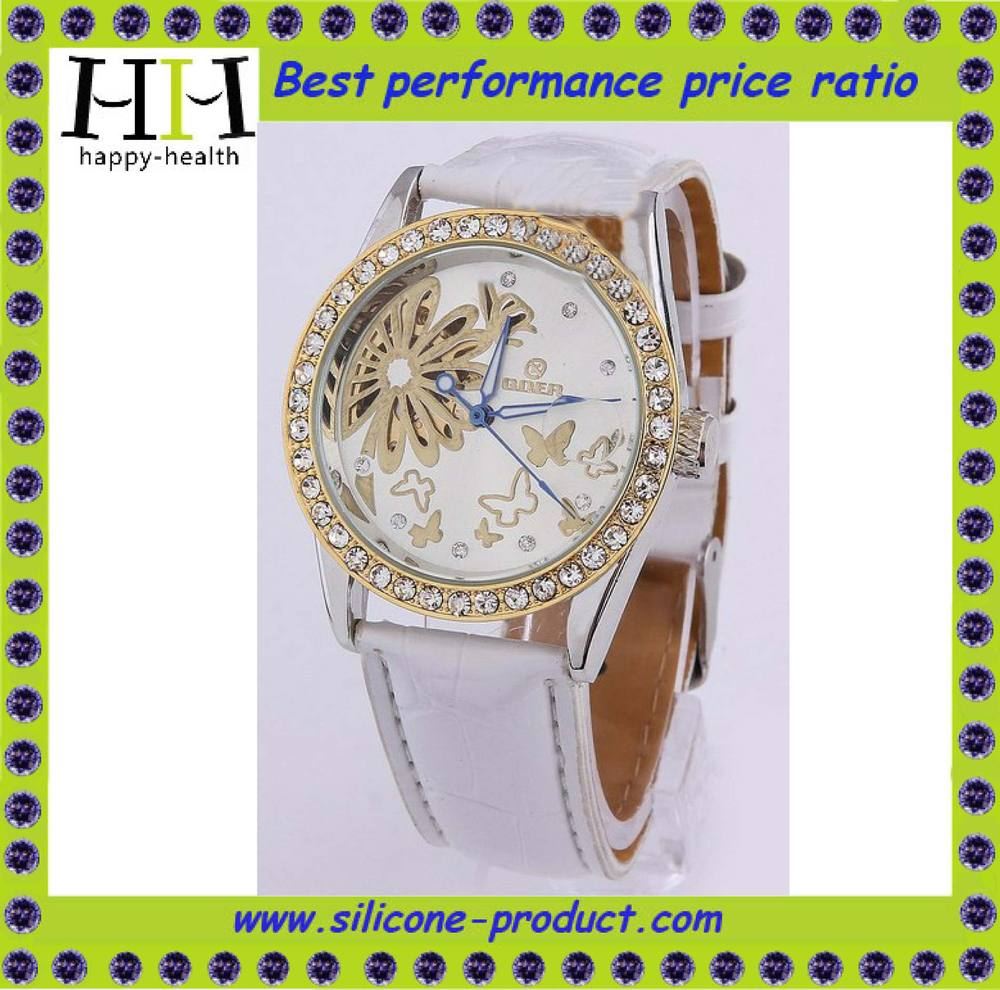 Fashion Luxury Automatical Mechanic Women Wristwatch White Cow Leather Watch Butterfly and Flower Ladies Bracelet Free Shiping(China (Mainland))