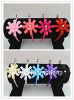Trail order satin ribbon flower with pearl headbands Grosgrain Ribbon flowers hairband hair accessory  24pcs/lot