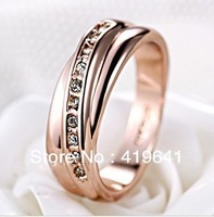 free   shipping  Love quotes Fashion Classic Rose Gold Swiss diamnd ring cross