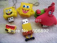 5pcs/lot Cute Cartoon Sponge Bob Model usb 2.0 flash Memory Stick Pen Thumb Drive Silicone USB 2GB 4GB 8GB 16GB 32GB Disk
