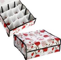 Free shipping-Rose 16 cell storage box lattice bra honeycomb finishing box tin box with cover