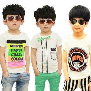 boys plain t shirts color strip letter print t-shirts kids t shirt children summer clothing 2014 drop shipping 5pcs/lot