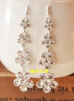 Free shipping Quality long design pure silver sparkling rhinestone flower star earrings no pierced earrings