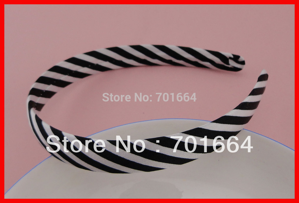 """10PCS 17mm 0.65"""" black and white striped fabric wrapped plain plastic hair headbands at free shipping,BARGAIN for BULK(China (Mainland))"""