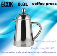 Factory export  brand la cafetiere 6 cup  stainless steel double walled  0.8L french  press,cafetiere with filter
