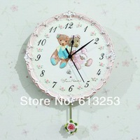 European Pastoral  Style Wall Clock / Fashion  Resin  Embossment  Wall Clock / Wall Decor.Little Bear  ID:A0106384