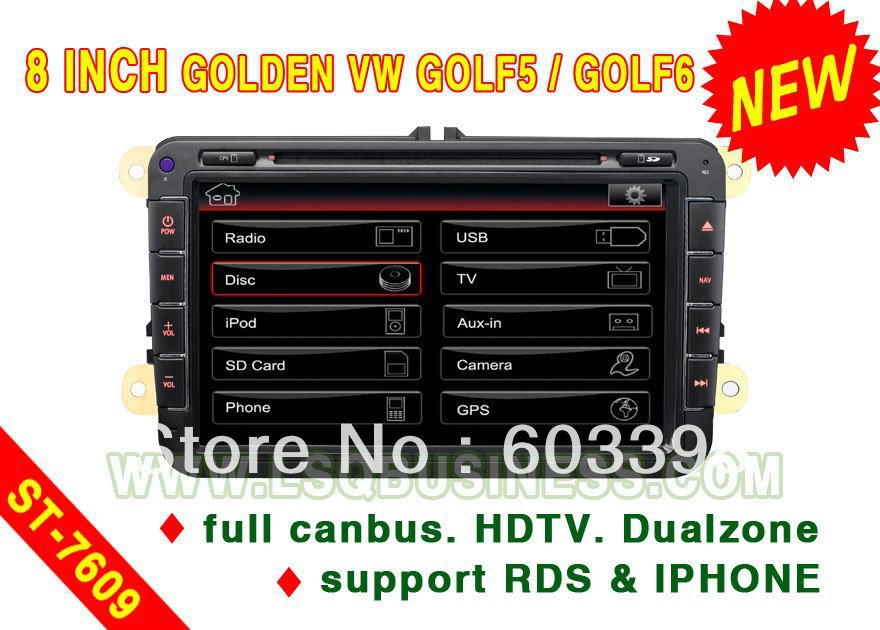 8 inch Special Car DVD Player for VW GOLF6 /PASSAT CC/Tiguan/JETTA/GOLF5/TIGUAN/EOS TSI/SEAT LEON/Rabbit/Skoda Octavia with GPS(China (Mainland))