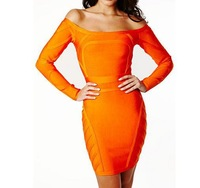 Best Quality! J177 'SKYE' ORANGE OFF THE SHOULDER BANDAGE DRESS, Real Photo inside