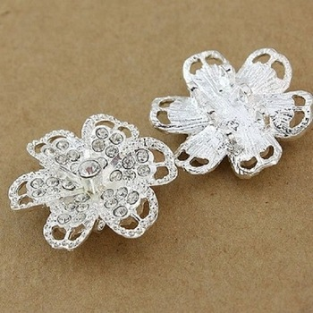 Hot! 40 pieces Factory Direct Supply Promotional 32 mm Silver-Plated Jewelry Set With Sparkling Rhinestones Flower Accessories