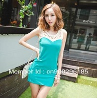 2013 summer new style cute sleeveless ladies dresses, solid sexy sheath hollow out sweety party dresses for women,free shipping