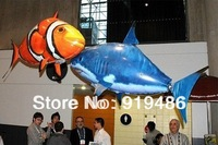 Free Shipping Remote Control Air Flying Shark+Fish Inflatable Toy,Funny RC Model Swimming In The Air ,Kids Gift