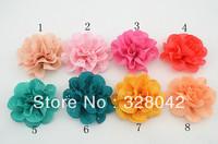 Trail order fabric Flowers Eyelet chiffon lace flower clips headband flower brooch DIY Photography props 40pcs/lot