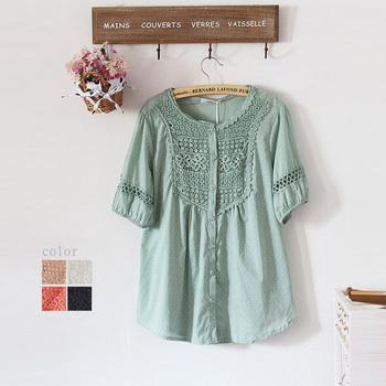 Summer o-neck shirt female loose short-sleeve cutout crochet lace plus size shirt