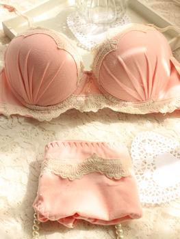 Cotton 100% . underwear cotton bamboo 100% 3 breasted side gathering bra push up bra women's bra set