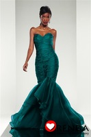 Amazing New Arrival 2013 Sweetheart Green Organza Elegant Evening Dress Prom Dress Meramid Style Fast Shipping