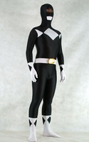 Sexy lycra spandex free shipping full body Zentai black color block decoration all-inclusive tights hero party halloween costume