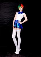 Fancy Lycra zentai Zentai blue color block decoration glue navy dress sexy School Uniforms party costume