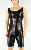 Lycra zentai spandex sexy costume Black rubber zentai o-neck sleeveless leotard all-inclusive tights hero clothing