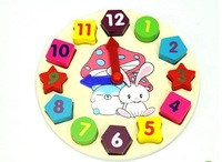 Free shipping Wooden toy Digital Geometry Clock Children's educational toy building blocks A23