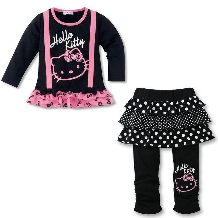 New, Free Shipping,children clothing hello kitty suit 5sets girls set 100% long sleeve t shirt +pantskirt cartoon Clothing(China (Mainland))