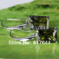 wholesale  AAA Zircon Rare Emerald Cut Peridot  Dangle Hook  18k white gold Stick Earring Free Shipping