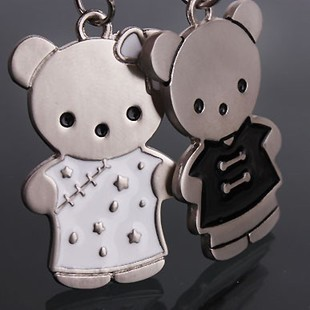 Cute outfit bear cartoon lovers Keychain / animation / Chinese wind of ornaments 1 pair Free shipping(China (Mainland))