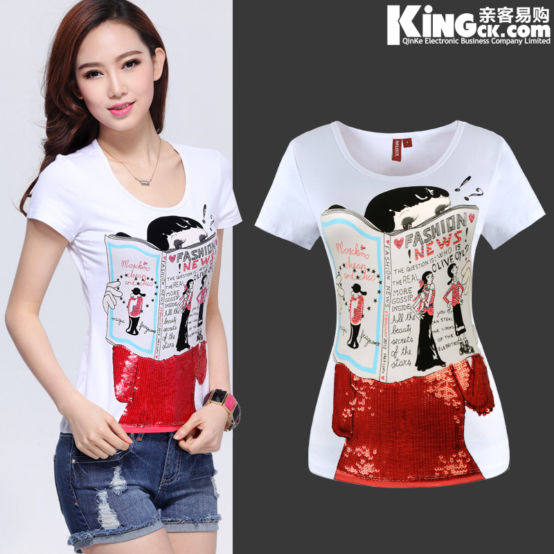 Cartoon casual paillette white T-shirt short-sleeve shirt print plus size clothes women&#39;s short-sleeve t shirt lady Tee Tops(China (Mainland))