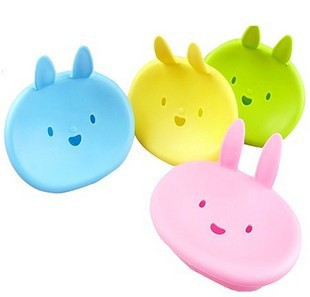F04718 Bathroom Appliance Cute Rabbit Smile Design Plastic Bath Soap Box Holder Dish Case(China (Mainland))