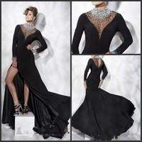 New arival 2013 custom made cheap side slit floor-length long sleeves black  high sexy empire shinning elgant prom dress