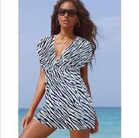 Free Shipping European version of the Beach ice silk dress deep V collar bikini dress was thin sexy 4-color