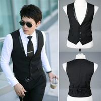 2014 New Fashion Double Breasted Plus Size Slim Fit Chaleco Hombre Sleeveless Cotton Waistcoat Suit Vest Mens Dress Vest