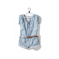 2013 summer children's clothing female child jumpsuit water wash wearing white child denim jumpsuit