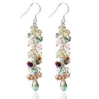 Free Shipping (Min$15) 2013 Hot-selling Luxury National Trend 925 Silver Hook Created Crystal Earrings Women's Wholesale