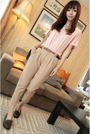 Montage New Korean Straight All-Match Casual Slim Fashion Acrylic Pants free shipping 2013 spring summer chiffon(China (Mainland))