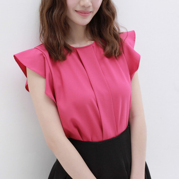 Summer women's 2013 brief elegant o-neck small butterfly sleeve ruffle chiffon shirt top ag284