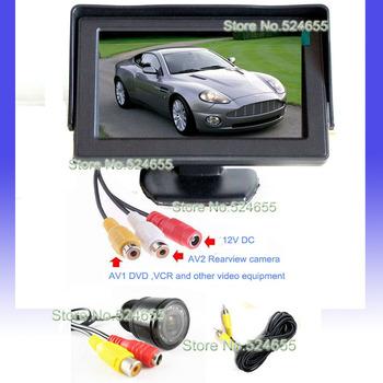 Free shipping Parking Assistance Car ccd hd camera night vision and car TFT monitor backup camera parking system