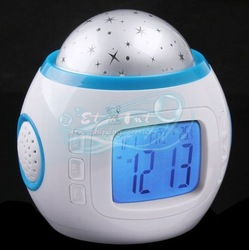 DHL shipping Wholesale Backlight Color LED Starry Sky Projection Music Projector Digital Alarm Clock(China (Mainland))