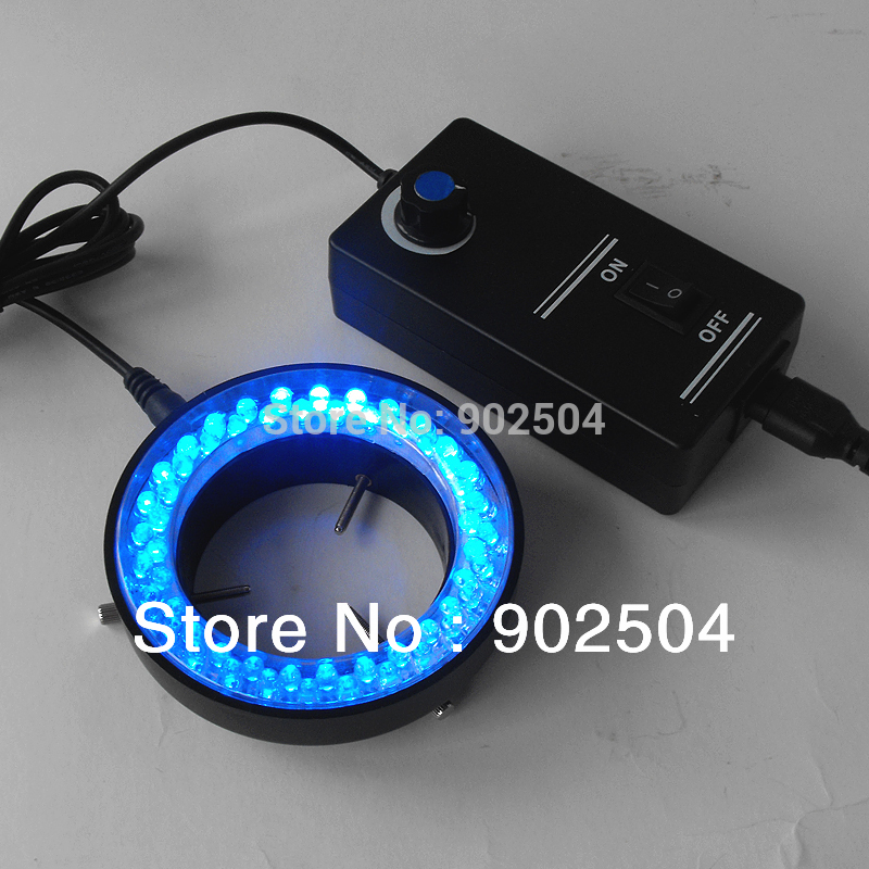 Free shipping Blue Light 60 Led Lamps Ring Lamp used on Stereo Biological Zoom Stereo Microscope Parts with Adapter 220V or 110V(China (Mainland))