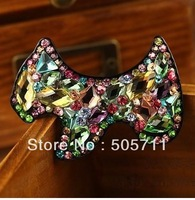 Free Shining 360 (12pcs/lot) gift  hair accessory crystal rhinestone  hairpin side-knotted clip spring barrettes