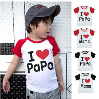 4 design Baby clothesT-shirt,i love papa mama baby shirt/T-Shirt boy&girl short Sleeve red black Shirt,Infants&Toddlers T shirt