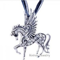 Hot Sale  Fashion Mix Color Pegasus  Horse  Pendant  Necklace Ribbon Rope Chain Rhinestone White Gold Plated Jewelry