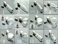 Free ship !! 100pcs/lot  mixed glass vial pendant seals O rings screw cap perfume essential oil bottle rice art